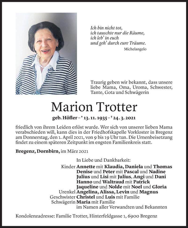 Todesanzeige für Marion Trotter vom 29.03.2021 aus Vorarlberger Nachrichten