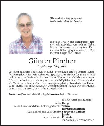 Todesanzeige von Günter Pircher von Vorarlberger Nachrichten