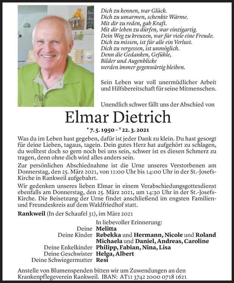 Todesanzeige für Elmar Dietrich vom 24.03.2021 aus Vorarlberger Nachrichten