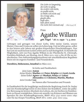 Todesanzeige von Agathe Willam von Vorarlberger Nachrichten