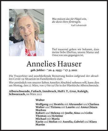 Todesanzeige von Annelies Hauser von Vorarlberger Nachrichten