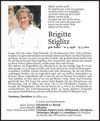 Todesanzeige von Birgitte Stiglitz von Vorarlberger Nachrichten
