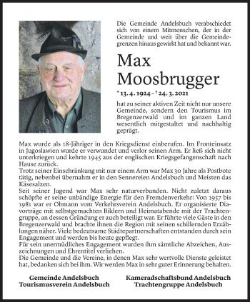 Todesanzeige von Max Moosbrugger von Vorarlberger Nachrichten