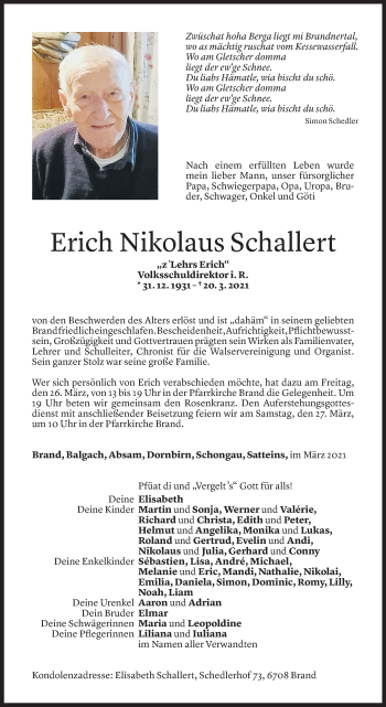 Todesanzeige von Erich Nikolaus Schallert von Vorarlberger Nachrichten