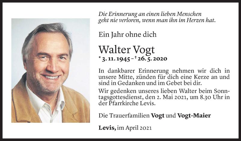 Todesanzeige für Walter Vogt vom 29.04.2021 aus Vorarlberger Nachrichten