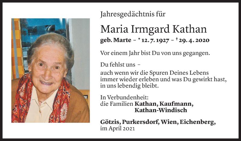 Todesanzeige für Maria Irmgard Kathan vom 29.04.2021 aus Vorarlberger Nachrichten