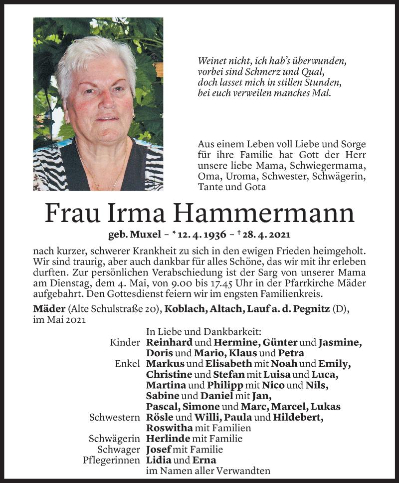 Todesanzeige für Irma Hammermann vom 03.05.2021 aus Vorarlberger Nachrichten