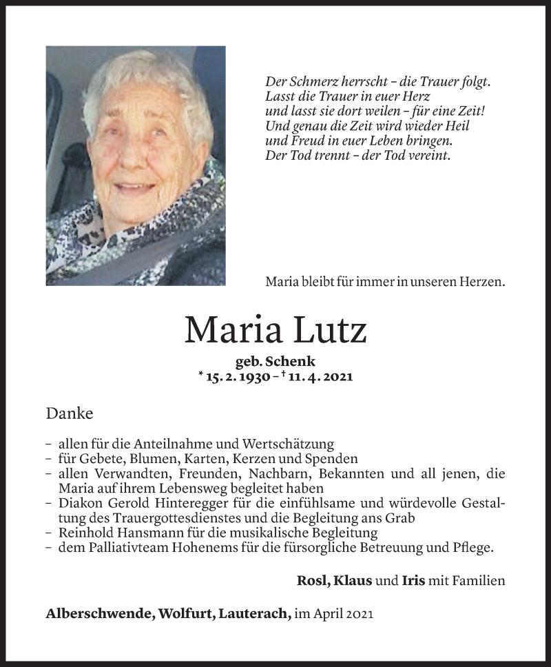 Todesanzeige für Maria Lutz vom 29.04.2021 aus Vorarlberger Nachrichten