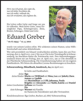 Todesanzeige von Eduard Greber von Vorarlberger Nachrichten
