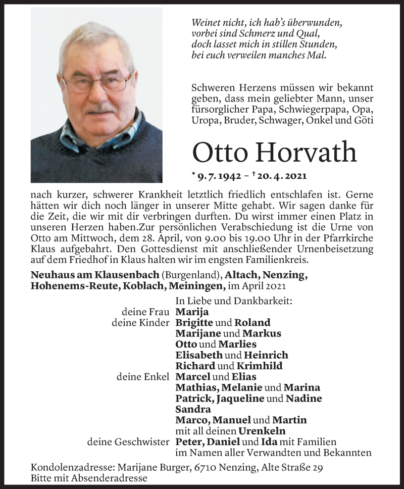 Todesanzeige für Otto Horvath vom 27.04.2021 aus Vorarlberger Nachrichten