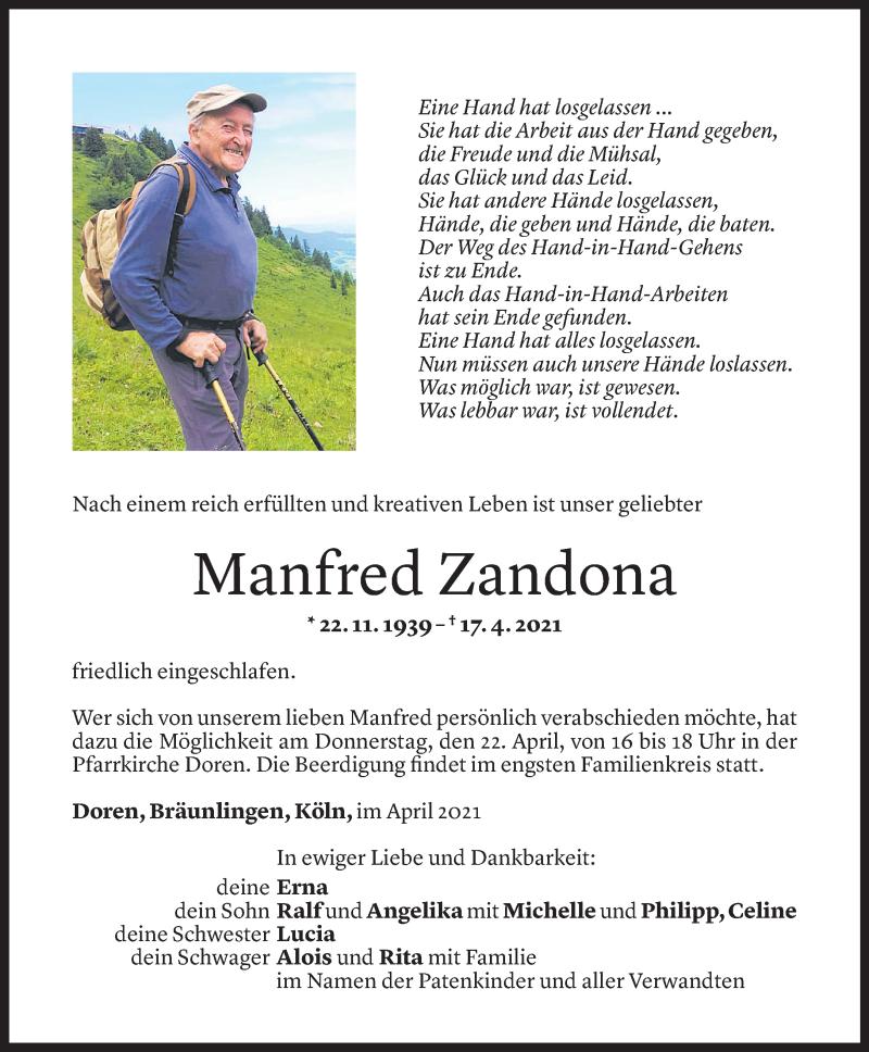 Todesanzeige für Manfred Zandona vom 20.04.2021 aus Vorarlberger Nachrichten