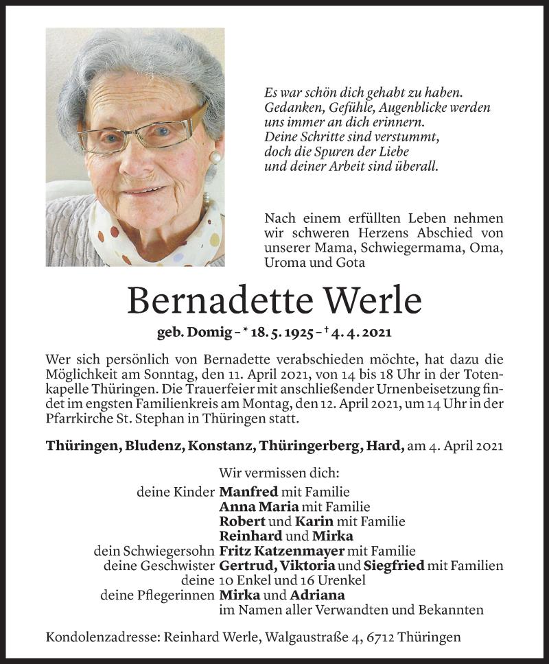 Todesanzeige für Bernadette Werle vom 08.04.2021 aus Vorarlberger Nachrichten