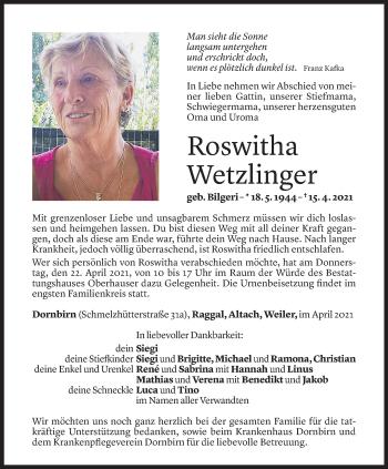Todesanzeige von Roswitha Wetzlinger von Vorarlberger Nachrichten