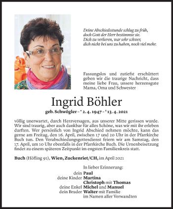 Todesanzeige von Ingrid Böhler von Vorarlberger Nachrichten
