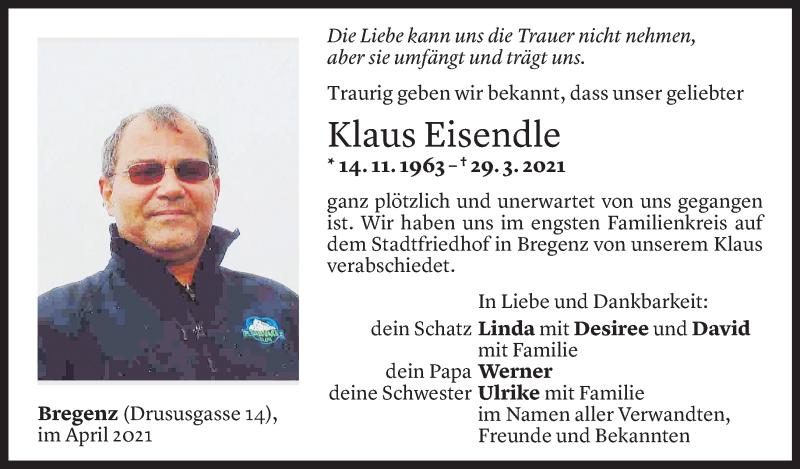 Todesanzeige für Klaus Eisendle vom 03.04.2021 aus Vorarlberger Nachrichten