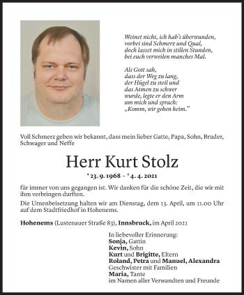 Todesanzeige von Kurt Stolz von Vorarlberger Nachrichten