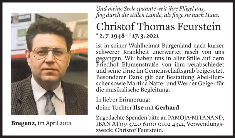 Todesanzeige für Christof Thomas Feurstein vom 30.04.2021 aus Vorarlberger Nachrichten