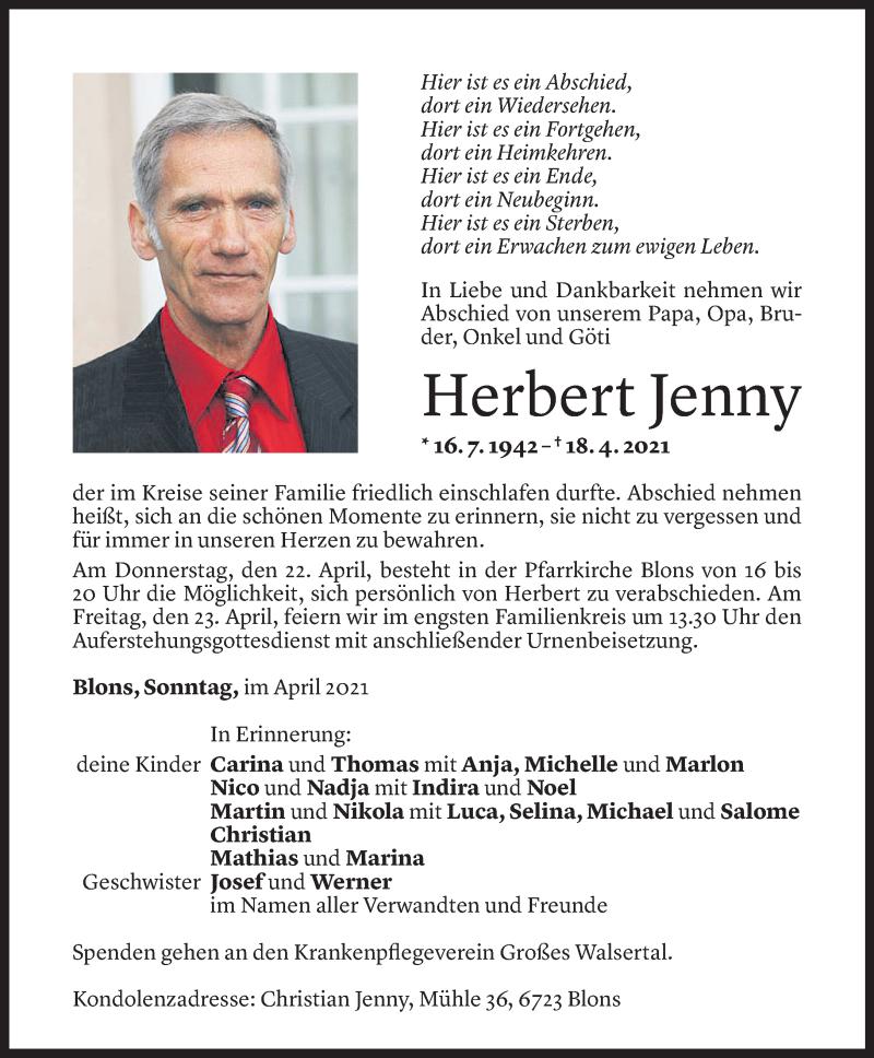 Todesanzeige für Herbert Jenny vom 20.04.2021 aus Vorarlberger Nachrichten