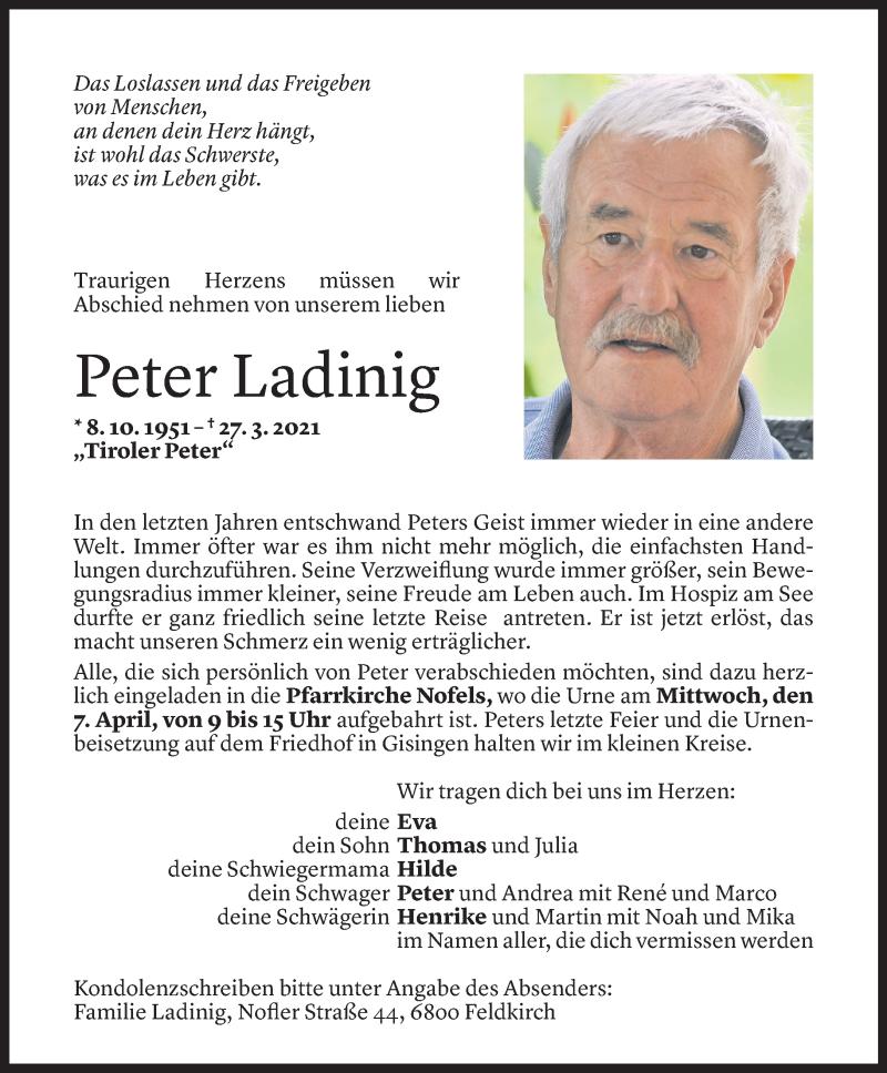 Todesanzeige für Peter Ladinig vom 02.04.2021 aus Vorarlberger Nachrichten