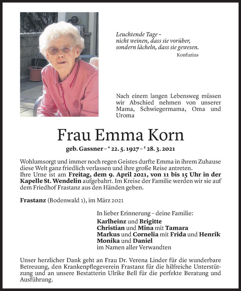 Todesanzeige für Emma Korn vom 05.04.2021 aus Vorarlberger Nachrichten
