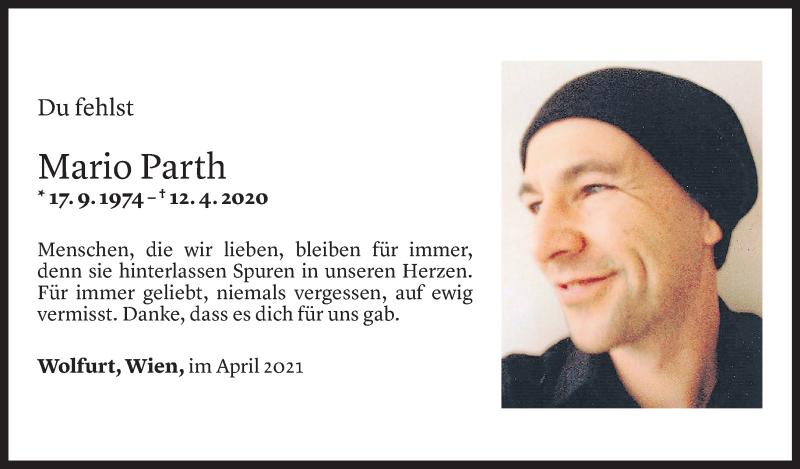 Todesanzeige für Mario Parth vom 11.04.2021 aus Vorarlberger Nachrichten