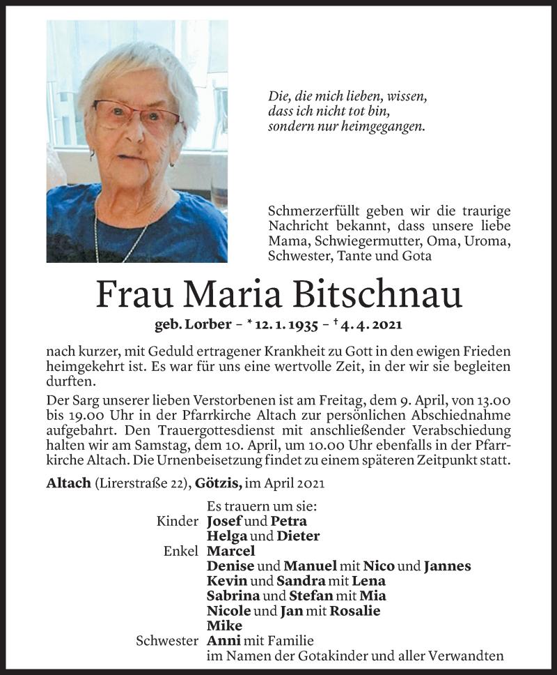 Todesanzeige für Maria Bitschnau vom 07.04.2021 aus Vorarlberger Nachrichten