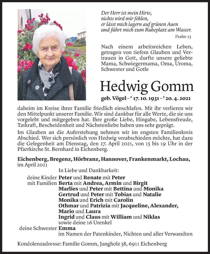 Todesanzeige für Hedwig Gomm vom 23.04.2021 aus Vorarlberger Nachrichten