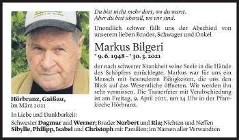 Todesanzeige von Markus Bilgeri von Vorarlberger Nachrichten
