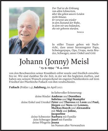 Todesanzeige von Johann Meisl von Vorarlberger Nachrichten