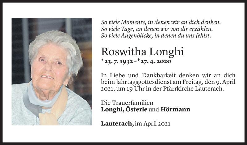 Todesanzeige für Roswitha Longhi vom 07.04.2021 aus Vorarlberger Nachrichten