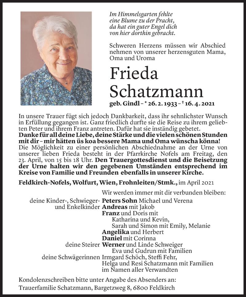 Todesanzeige für Frieda Schatzmann vom 19.04.2021 aus Vorarlberger Nachrichten