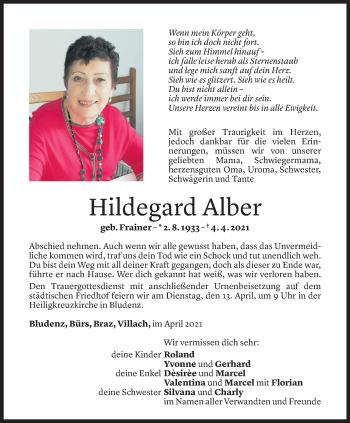 Todesanzeige von Hildegard Alber von Vorarlberger Nachrichten