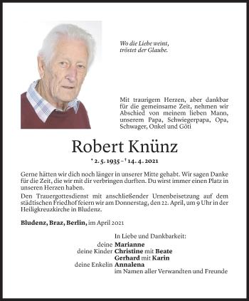 Todesanzeige von Robert Knünz von Vorarlberger Nachrichten