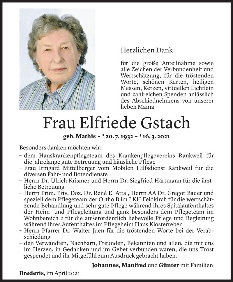 Todesanzeige für Elfriede Gstach vom 03.04.2021 aus Vorarlberger Nachrichten
