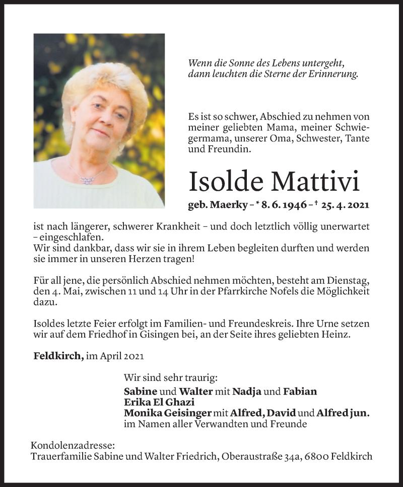 Todesanzeige für Isolde Mattivi vom 30.04.2021 aus Vorarlberger Nachrichten