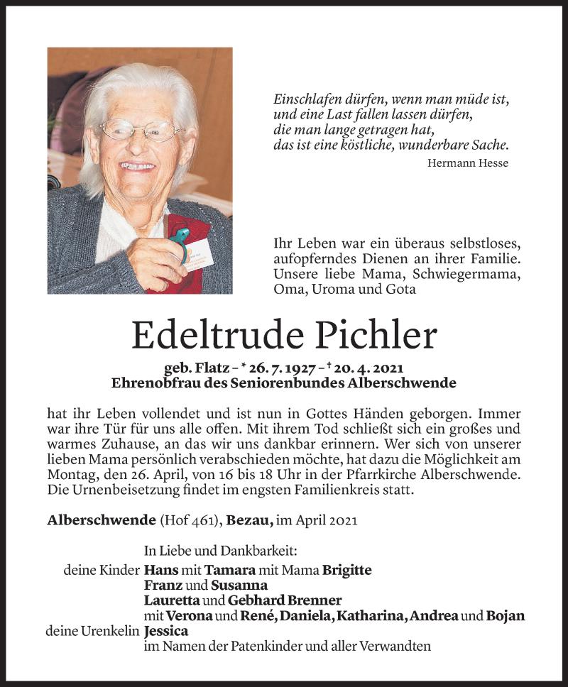 Todesanzeige für Edeltrude Pichler vom 23.04.2021 aus Vorarlberger Nachrichten