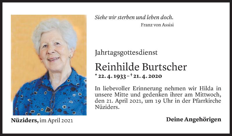 Todesanzeige für Reinhilde Burtscher vom 16.04.2021 aus Vorarlberger Nachrichten