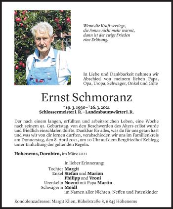 Todesanzeige von Ernst Schmoranz von Vorarlberger Nachrichten