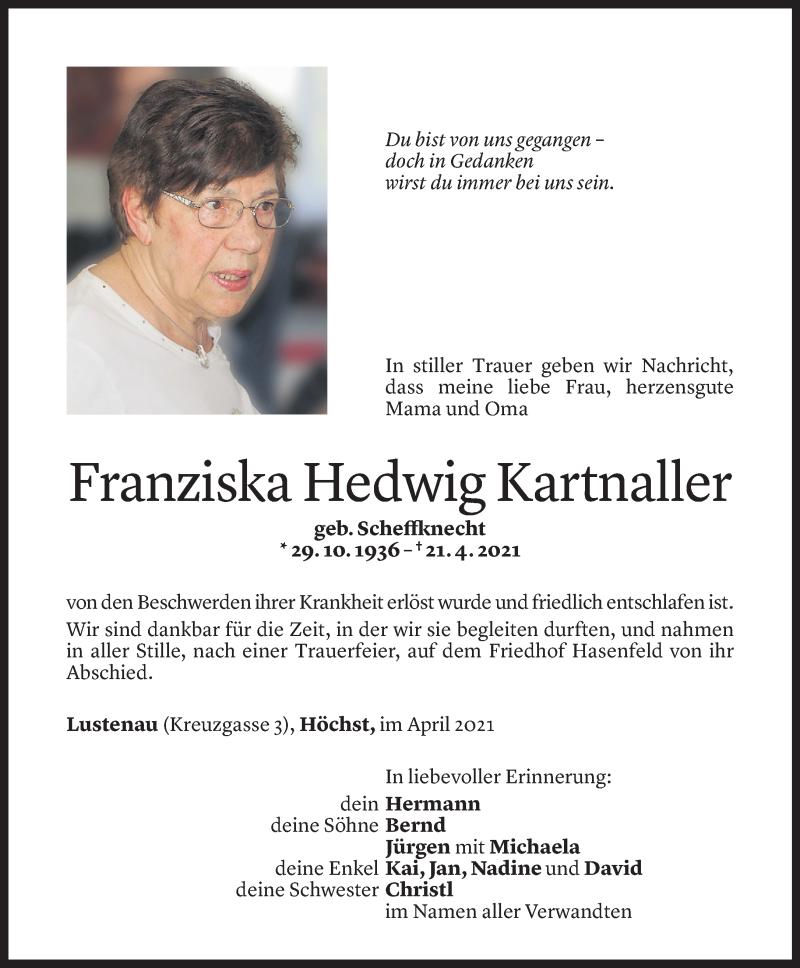 Todesanzeige für Franziska Hedwig Kartnaller vom 27.04.2021 aus Vorarlberger Nachrichten