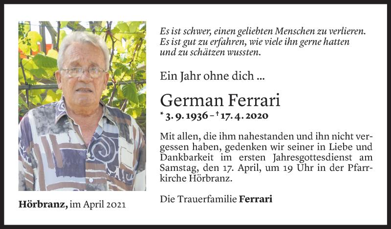 Todesanzeige für German Ferrari vom 14.04.2021 aus Vorarlberger Nachrichten