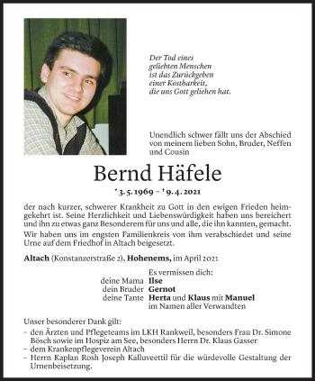 Todesanzeige von Bernd Häfele von Vorarlberger Nachrichten