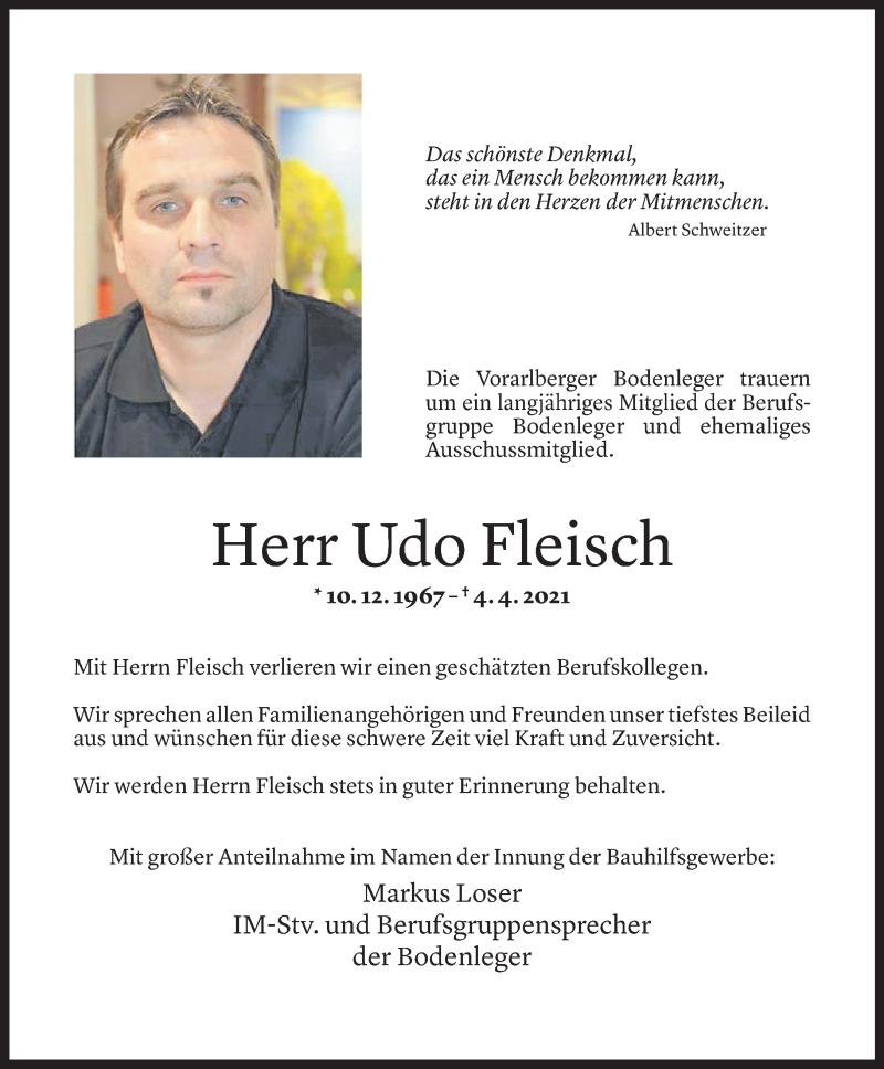 Todesanzeige für Udo Fleisch vom 07.04.2021 aus Vorarlberger Nachrichten