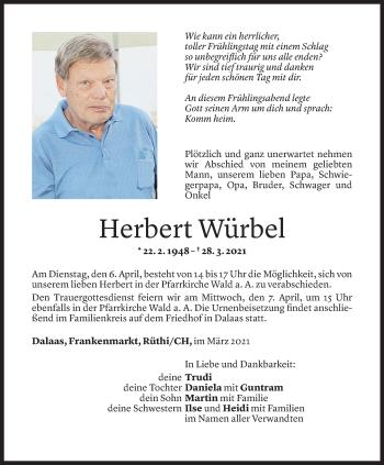 Todesanzeige von Herbert Würbel von Vorarlberger Nachrichten