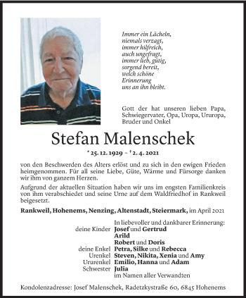 Todesanzeige von Stefan Malenschek von Vorarlberger Nachrichten