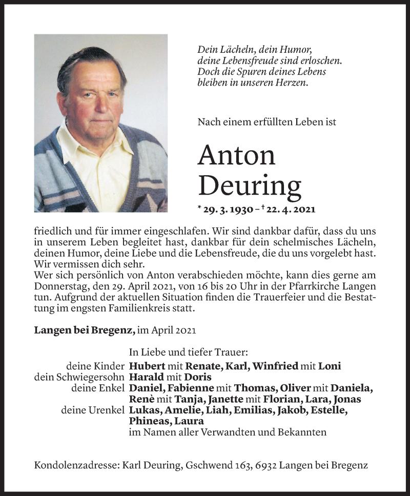 Todesanzeige für Anton Deuring vom 28.04.2021 aus Vorarlberger Nachrichten