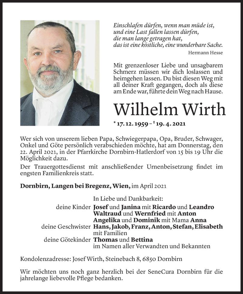 Todesanzeige für Wilhelm Wirth vom 20.04.2021 aus Vorarlberger Nachrichten