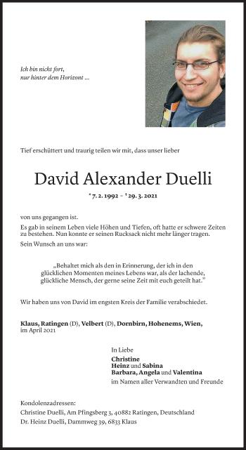 Todesanzeige von David Alexander Duelli von Vorarlberger Nachrichten