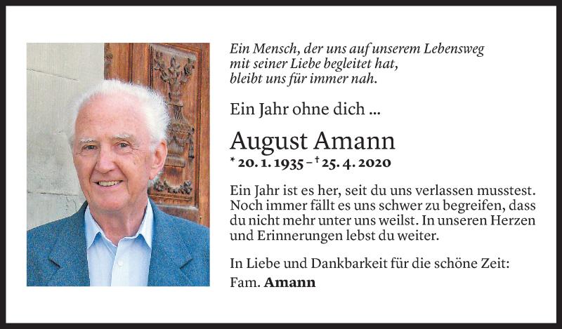Todesanzeige für August Amann vom 23.04.2021 aus Vorarlberger Nachrichten