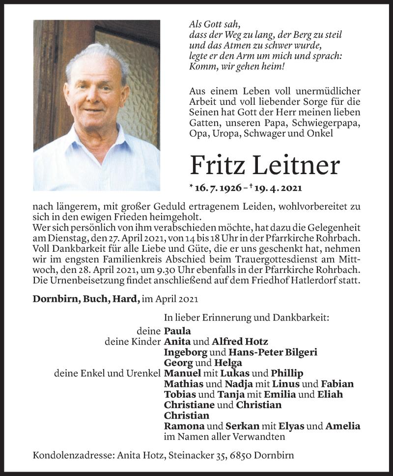 Todesanzeige für Fritz Leitner vom 23.04.2021 aus Vorarlberger Nachrichten