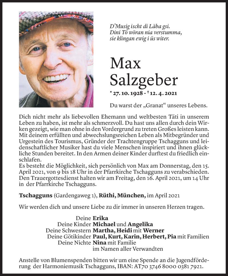 Todesanzeige für Max Salzgeber vom 14.04.2021 aus Vorarlberger Nachrichten